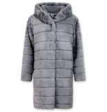 Save Style Pälsjacka dam - Jacka med fuskpälskrage - Grå/Lila