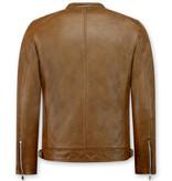 Enos Brun skinnjacka Herr - Faux leather jacket