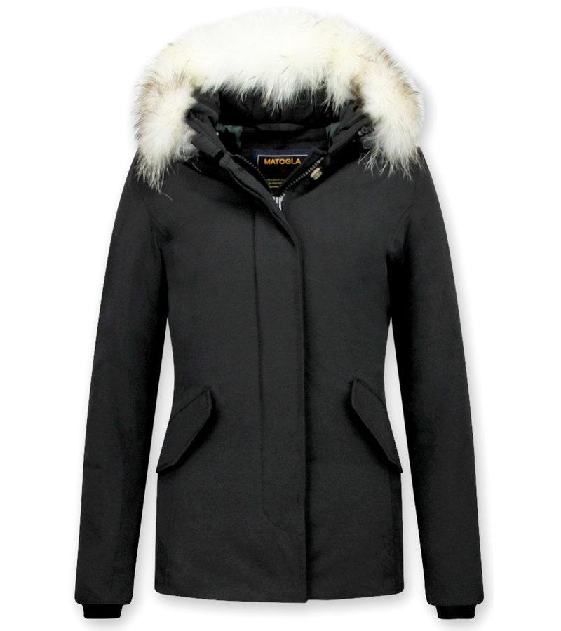 Matogla Exklusiv trendig Damer Fur Coat - Wooly Jacka Kort - 5897Z- Svart