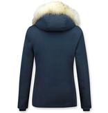 Matogla Damer Exklusiv trendig Fur Coat - Wooly Jacka Kort - 5897B - Blå