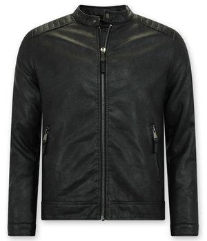Enos Imitation skinnjacka män - Biker Jacket - Svart