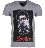 Mascherano Scarface Headphone - T Shirt Herr - 2307G - Grå