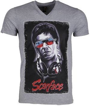 Mascherano Scarface Headphone - T Shirt Herr - 2307G - Grå