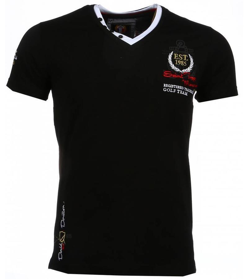 David Mello Broderi Riviera Club  - Herr T Shirt - 54092Z - Svart