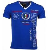 David Mello Broderi Automobile Club - Herr T Shirt - 54091B - Blå
