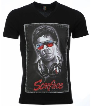 Mascherano Scarface Headphone Print - T Shirt Herr - 2307Z - Svart