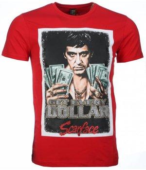 Mascherano Scarface Get Every Dollar Print - Herr T Shirt - 2004R - Röd