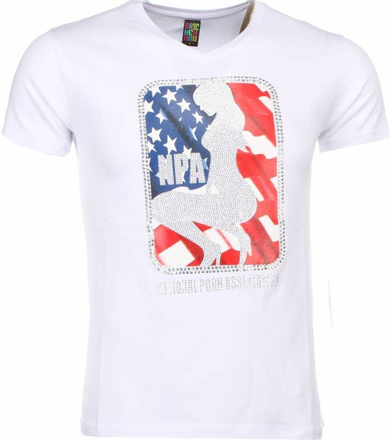 Mascherano Coola Tryck På Kläder NPA - T Shirt Herr - 1414W - Vit