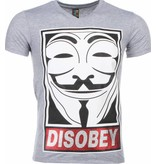 Mascherano Anonymous Disobey Print - T Shirt Herr - 2301G - Grå
