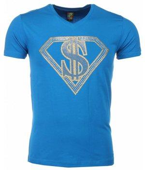 Mascherano Superman Dollar Print - Herr T Shirt - 1418B - Blå