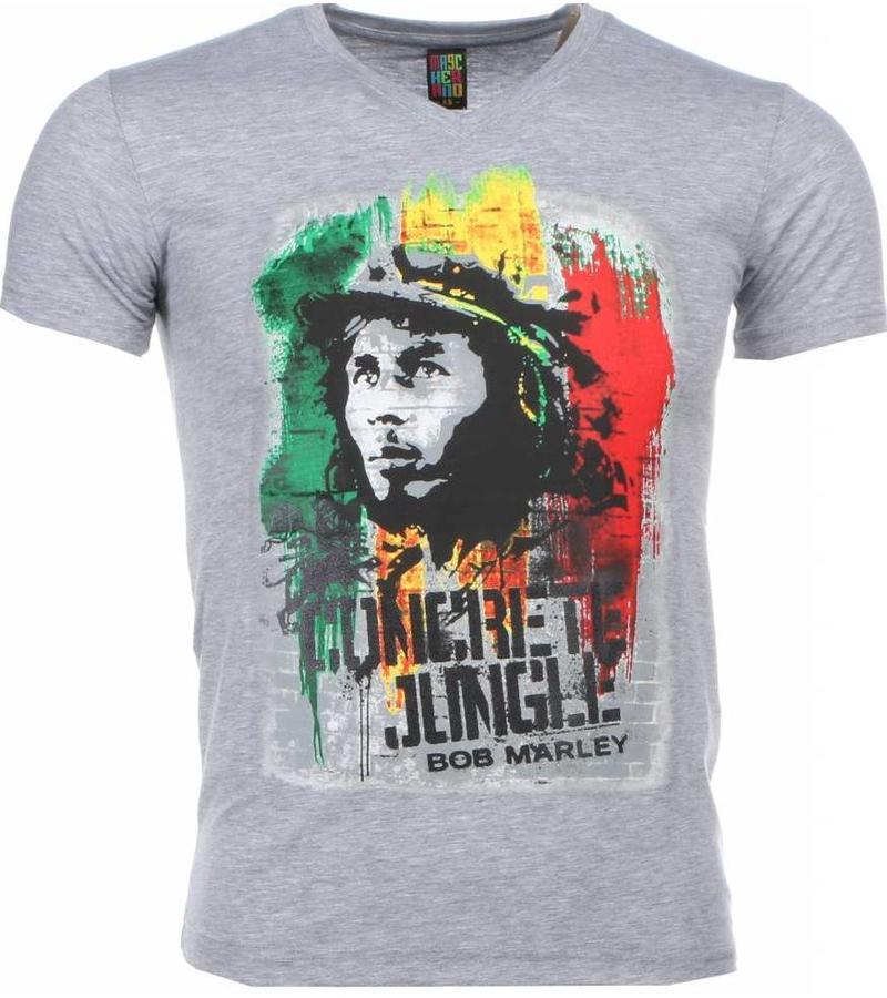 Mascherano Bob Marley Concrete Jungle Print - Herr T Shirt - 1406G - Grå