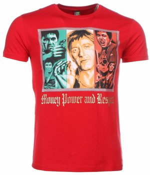 Mascherano Scarface Money Power Respect - T Shirt Herr - 1164R - Röd