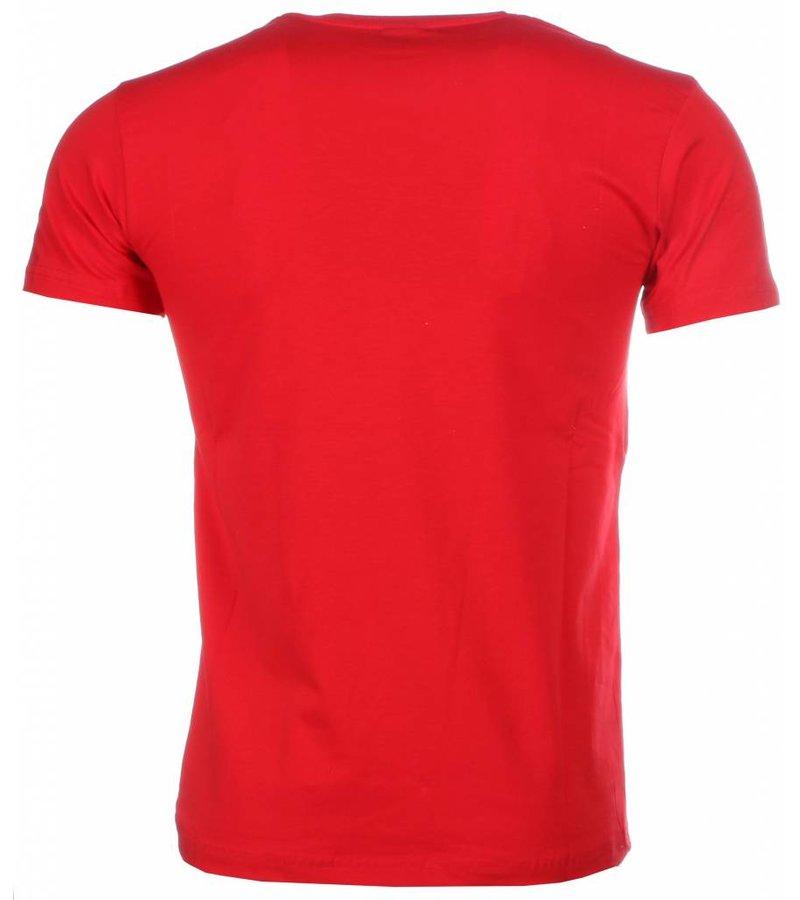 Mascherano Scarface Money Power Respect - T Shirt Herr - 1164R - Röd