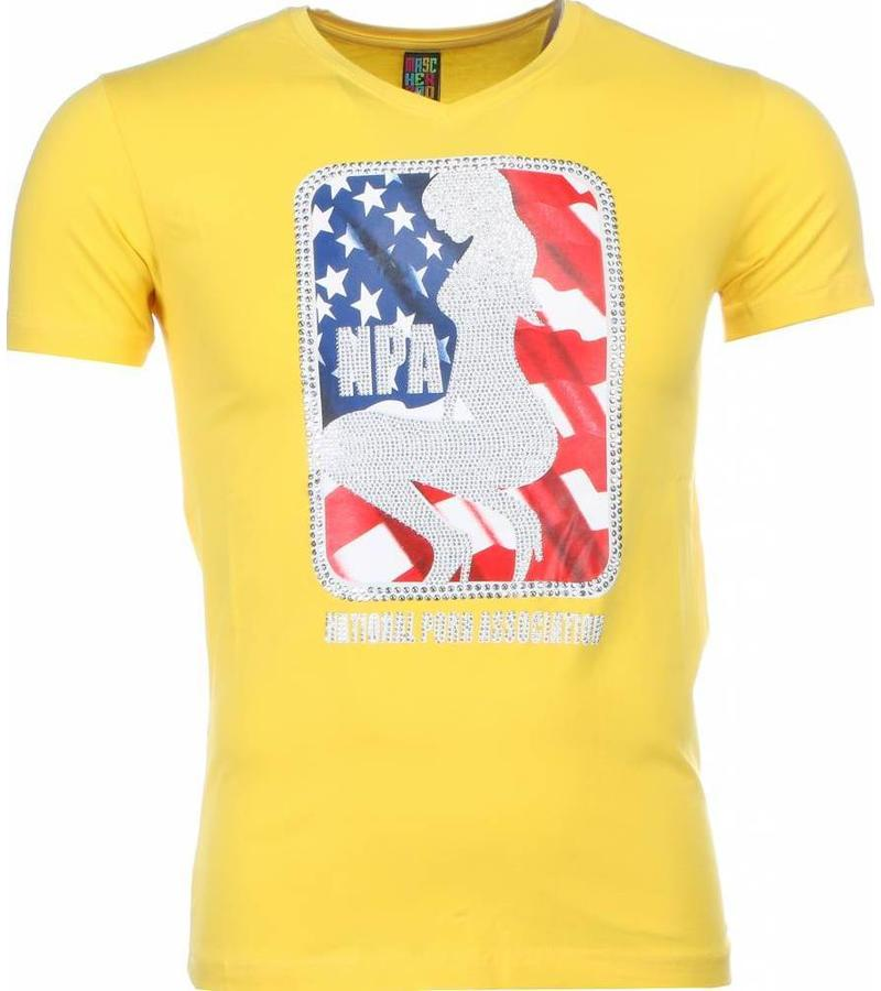 Mascherano Coola Tryck På Kläder NPA - Herr T Shirt - 1414G - Gul