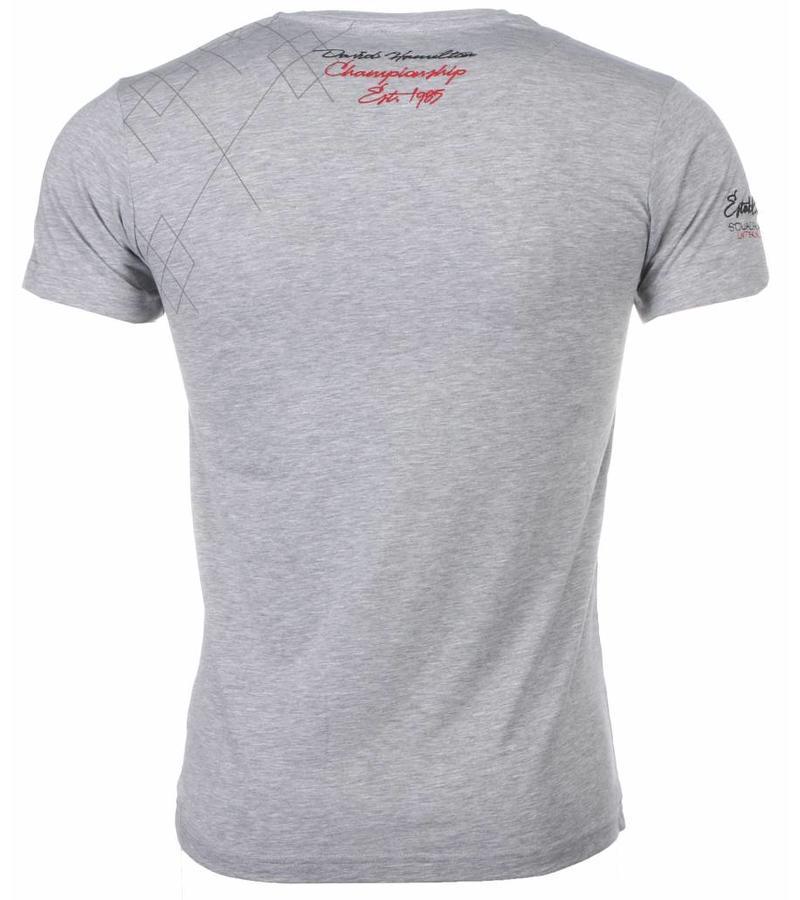 David Mello Italiaanse T-shirt - Korte Mouwen Heren - Borduur Squadra Azzura - Grijs