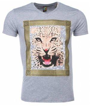 Mascherano Billiga Tröjor Online Tigerutskrift - Herr T Shirt - 1415G - Grå