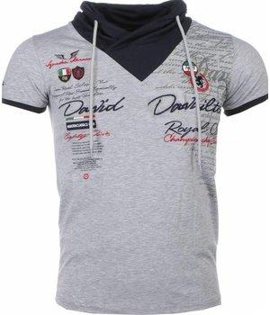 David Mello Italiensk T-shirt Kortärmad Halsduk - T Shirt Herr - 1392G - Grå