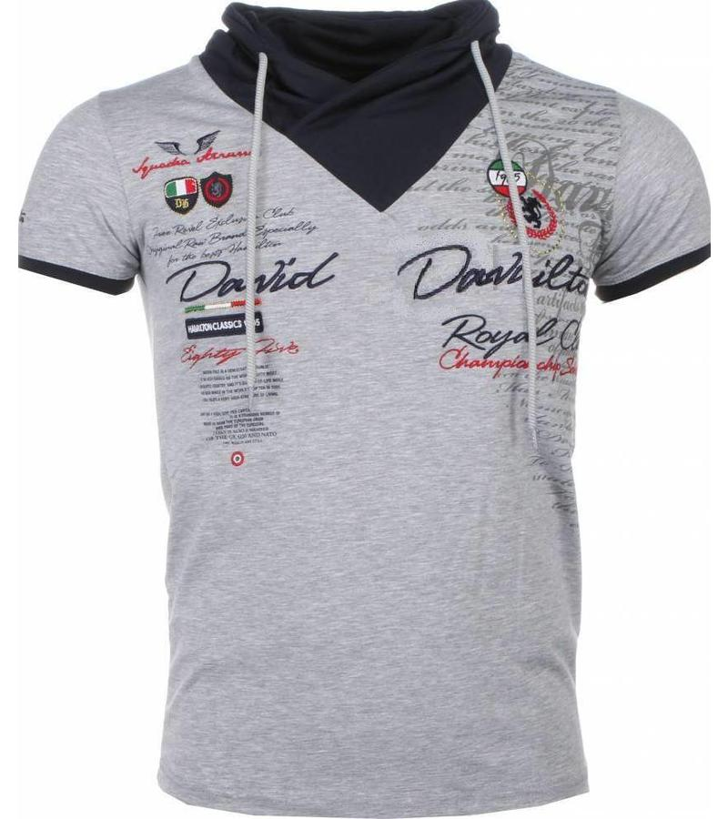 David Mello Italiaanse T-shirt - Korte Mouwen Sjaalkraag Heren - Royal Club - Grijs