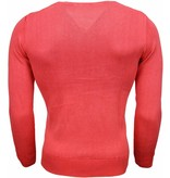 Brother-F Casual Trui - Exclusive Blanco V-Hals - Roze / Rood