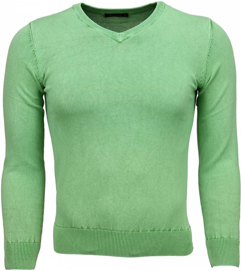 Brother-F Casual Trui - Exclusive Blanco V-Hals - Groen