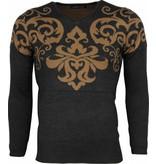 Lucky Life Casual Sweater Men - Tattoo Motif Brodery  - LF/CT-TMBH-G - Grå