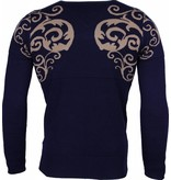 Lucky Life Casual Sweater - Tattoo Motif Brodery Men - LF/CT-TMBH-B - Blå