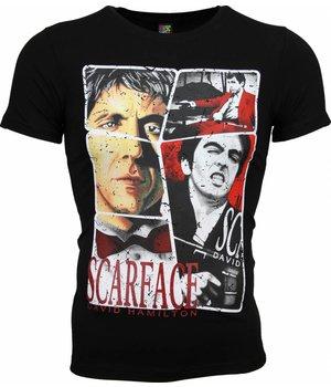 Mascherano T-shirt - Scarface Frame Print - Zwart