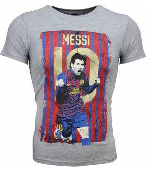 Mascherano Messi 10 Print Football - T Shirt Herr - 1170G - Grå