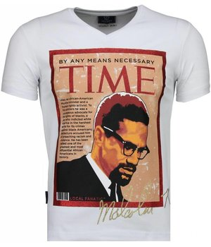 Local Fanatic Malcolm X Time - T Shirt Herr - 4294W - Vit