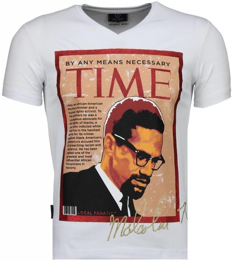 Local Fanatic Malcolm X Time - T Shirt Herr - 4294W - Vit