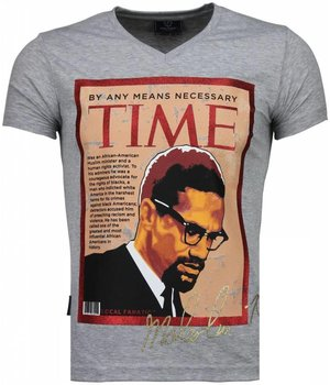 Local Fanatic Malcolm X Time - Herr T Shirt - 4294G - Grå