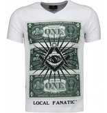 Local Fanatic One Dollar Eye Black Stones - Man T Shirt - 4302W - Vit