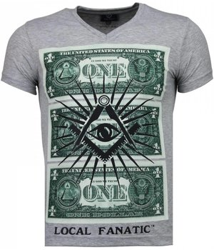 Local Fanatic One Dollar Eye Black Stones - T Shirt Herr - 4302G - Grå