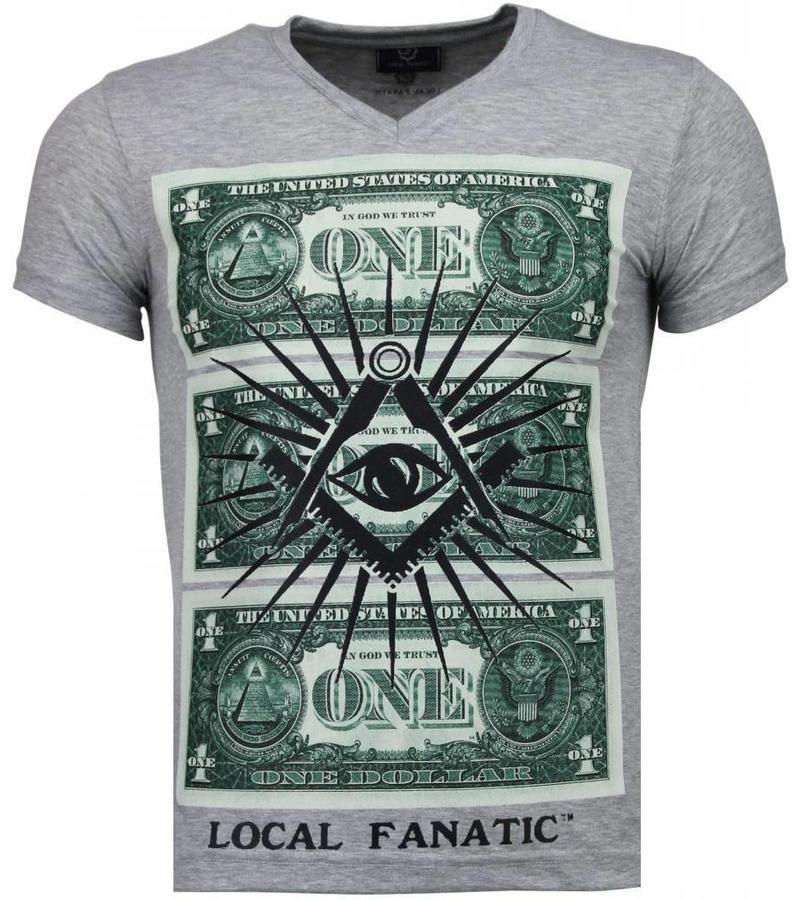 Local Fanatic One Dollar Eye Black Stones - T Shirt Herr - 4302G - Grå
