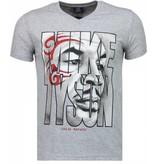 Local Fanatic Mike Tyson Tribal - T Shirt Herr - 2311G - Grå