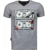 Local Fanatic Scarface Dollar Black Stones - T Shirt Herr - 2313G - Grå