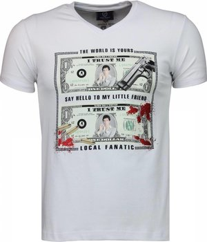 Local Fanatic Scarface Dollar Black Stones - Herr T shirt - 2313W - Vit