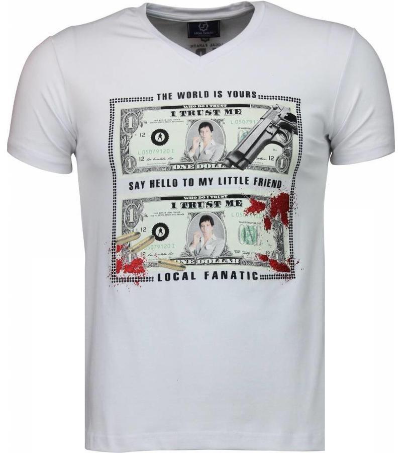 Local Fanatic Scarface Dollar Black Stones - Herr T shirt - 2313W - Vit