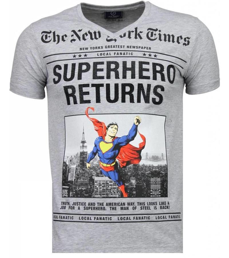 Local Fanatic SuperHero Returns Rhinestone - T Shirt Herr  - 2314G - Grå