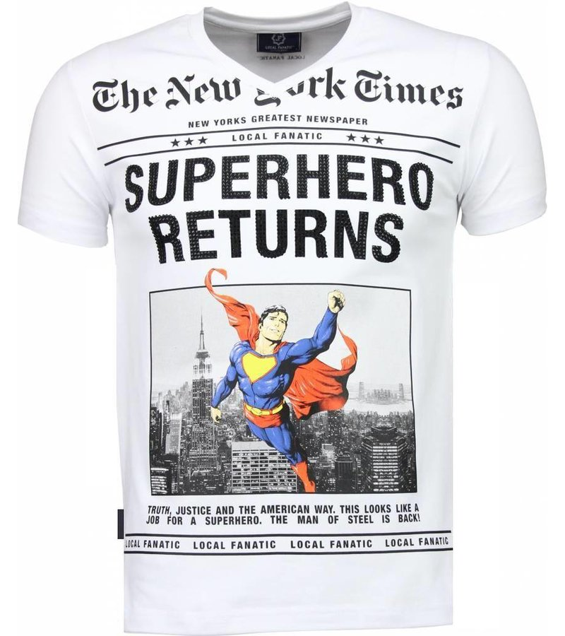 Local Fanatic SuperHero Returns Rhinestone - Herr T Shirt - 2314W - Vit