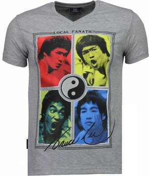 Local Fanatic Bruce Lee Ying Yang - T Shirt Herr - 2315G - Grå