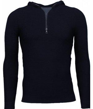 Enos Long Tee Ribbels - Sweater - Zwart