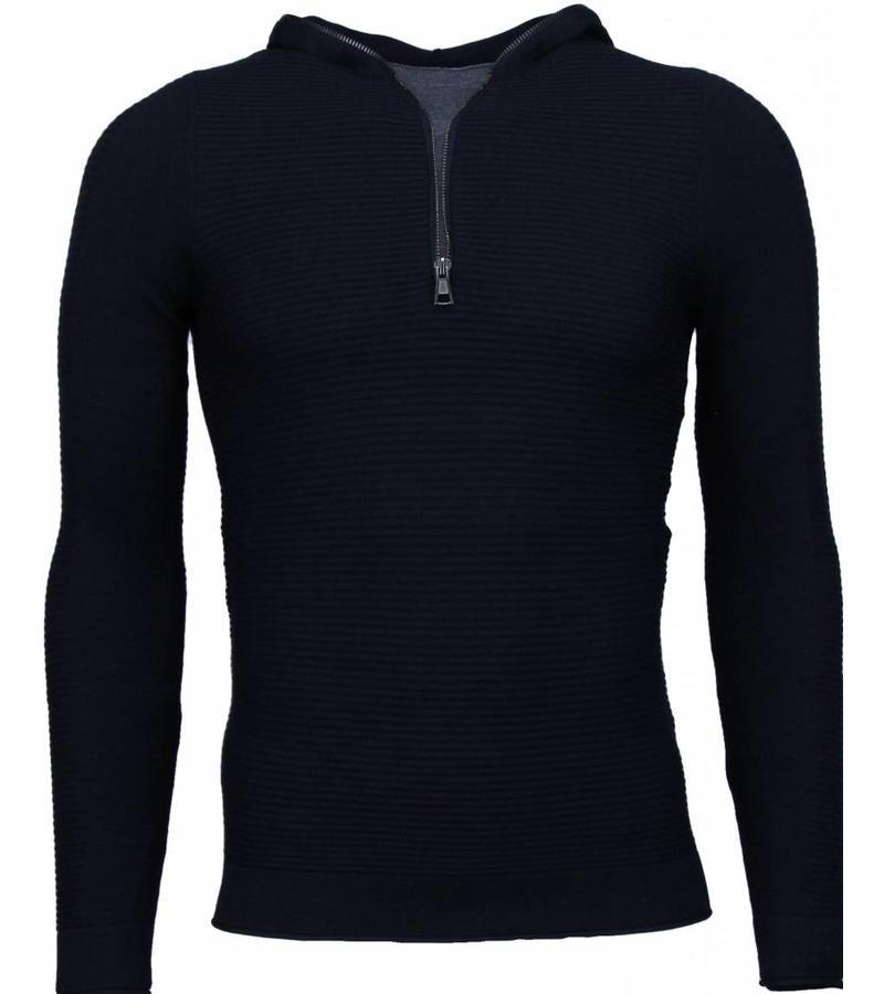 Enos Long Tee Ribbels Sweater - Tjocktröja Herr - M-1917Z - Svart