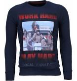 Local Fanatic Bilzarian Rhinestone Sweater - Herr Sweatshirt  - 4788N - Marinblå