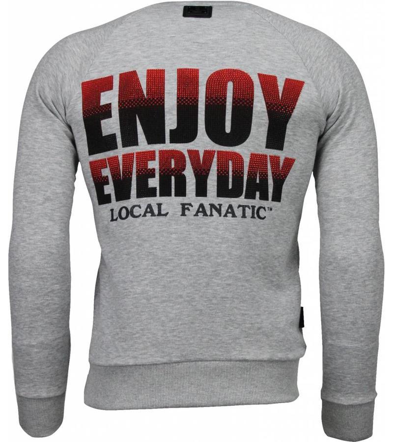 Local Fanatic Bilzarian Rhinestone Sweater - Sweatshirt Herr - 4787G - Grå