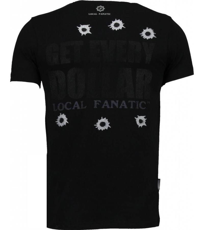 Local Fanatic AK-47 Dollar Rhinestone - Man T Shirt - 4781Z - Svart