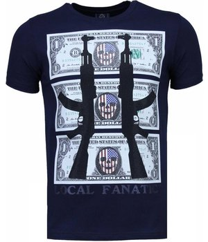 Local Fanatic AK-47 Dollar Rhinestone - T Shirt Herr - 4781N - Marinblå
