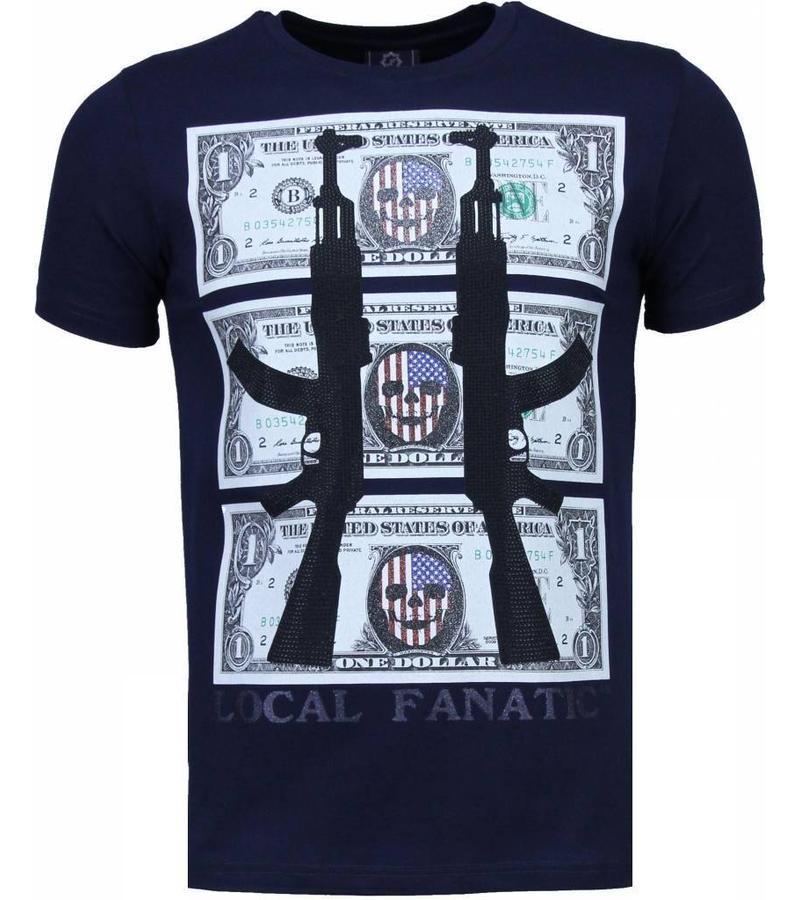 Local Fanatic AK-47 Dollar Rhinestone - T Shirt Herr - 4781N - Marinblå
