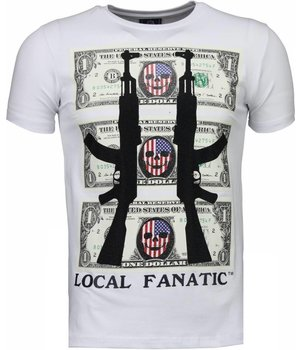 Local Fanatic AK-47 Dollar Rhinestone - Herr T Shirt - 4781W - Vit