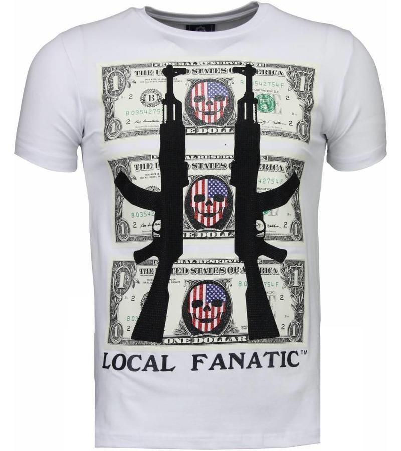 Local Fanatic AK-47 Dollar Rhinestone - Herr T Shirt - 4781W - Vit